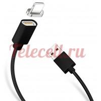 Магнитный USB кабель для Lighting  разъём с Led индикатором (черная)