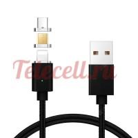 Магнитный USB кабель 3 in 1 для Lighting , Micro и TypeC разъём с Led индикатором (черная)