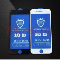 Цветное защитное 10D стекло на iPhone 6P/6SP белое и черное